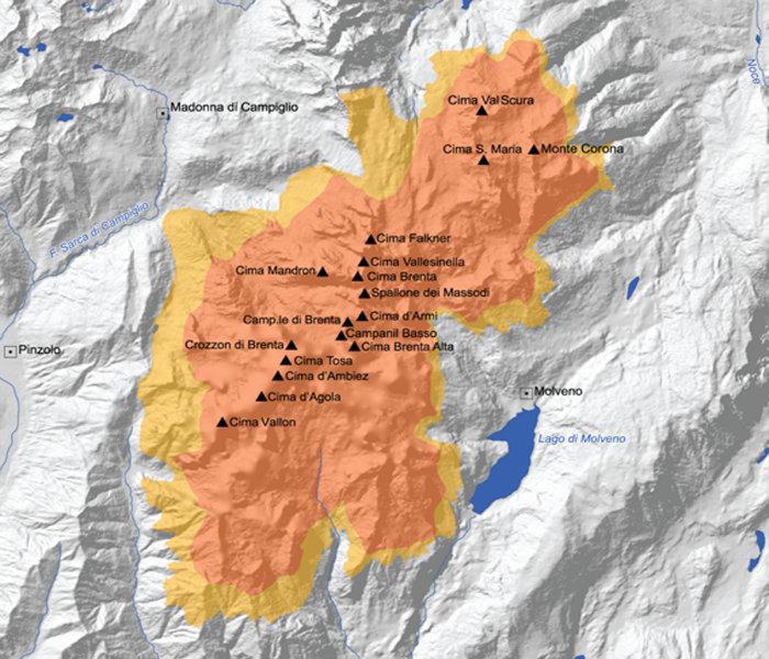 Cartina Geografica Dolomiti.Sistema 9 Dolomiti Di Brenta Dolomiti Unesco