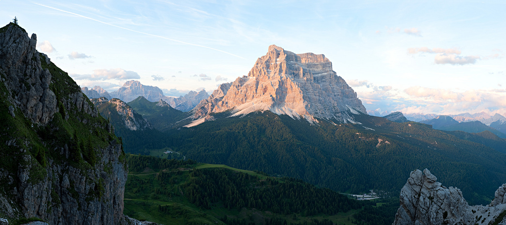 Il Pelmo, taken from Rifugio Coldai, one of the stops along the Alta Via One in the Dolomite mountains of Italy. Panorama constructed from six individual photos.
