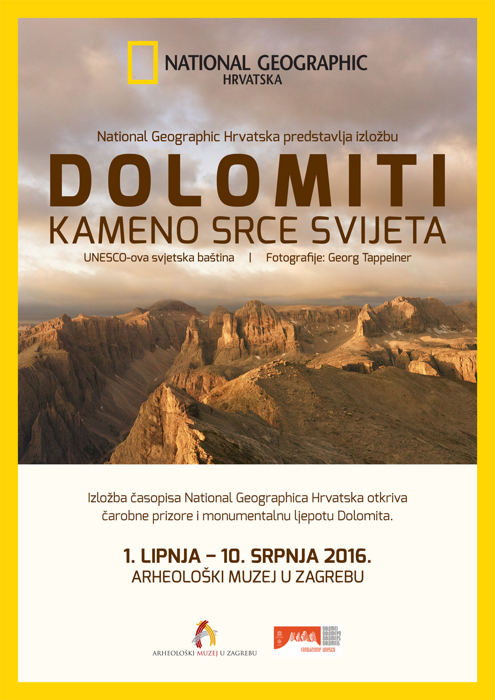 Mostra fotografica sulle Dolomiti UNESCO di Georg Tappeiner a Zagabria. Locandina