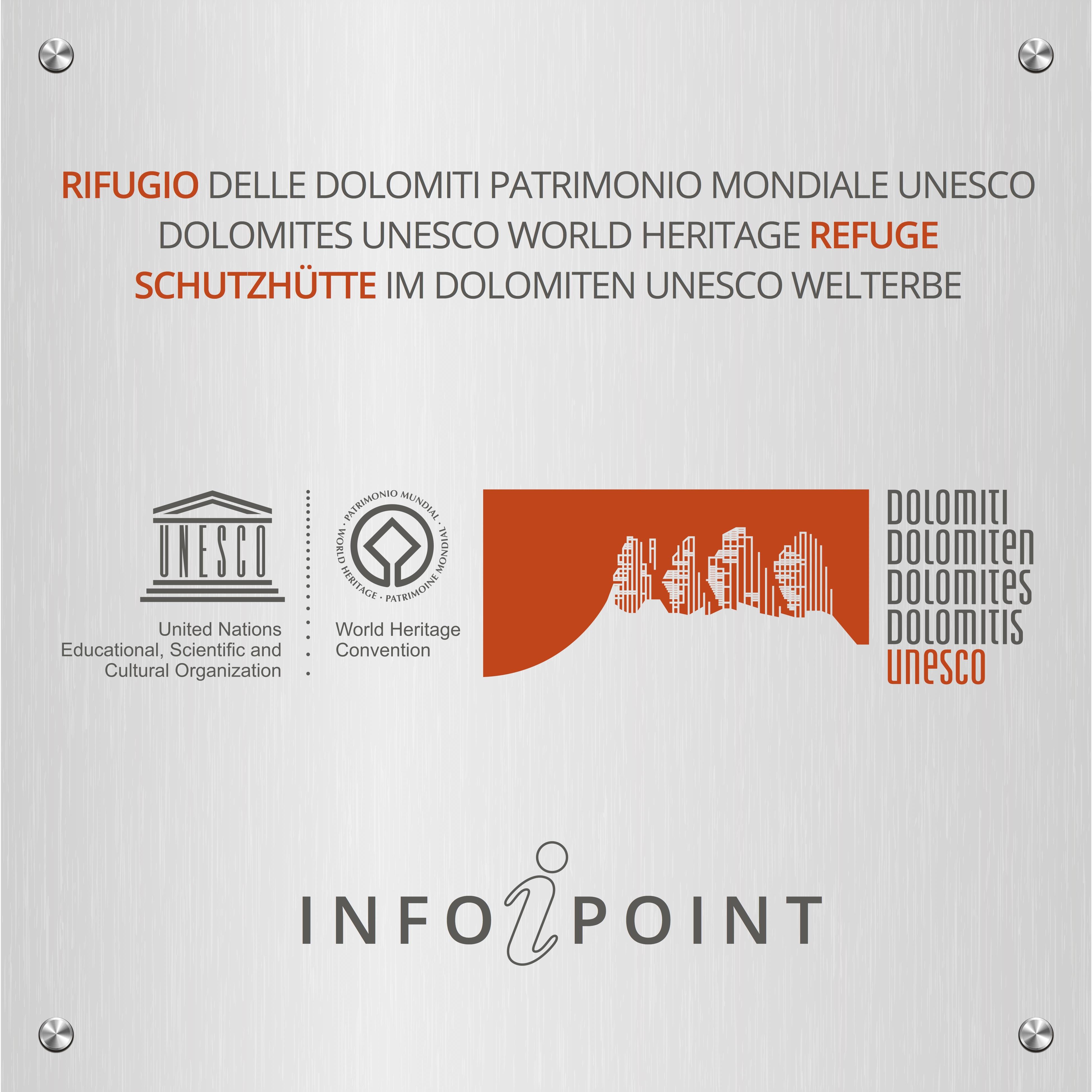 Targa per i rifugi aderenti al progetto Rifugi delle Dolomiti UNESCO