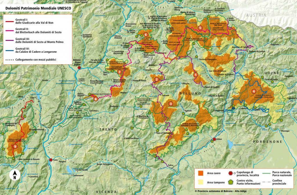 Dolomites World Heritage Geotrail Carta